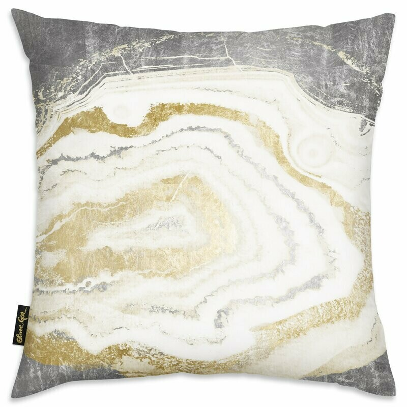 Silver + Gold Agate Throw Pillow
