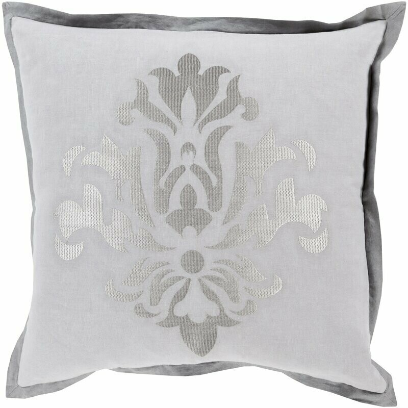 Gray + Silver Crest Throw Pillow