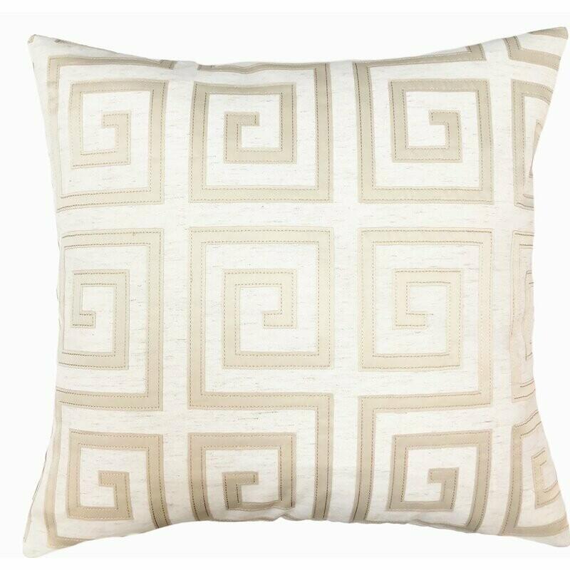 Greek Key Gold + White Throw Pillow