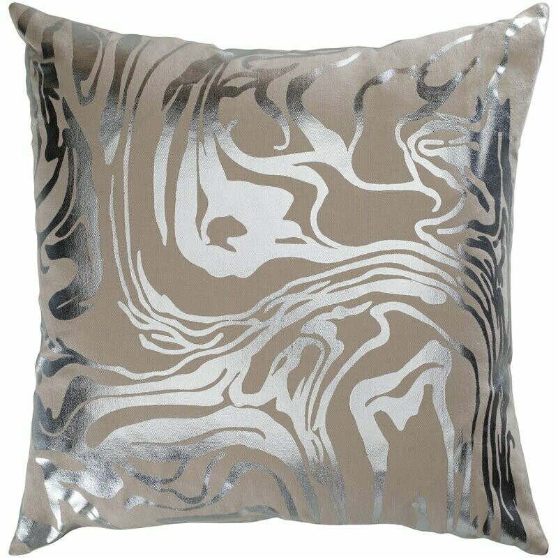 Taupe + Silver Abstract Throw Pillow
