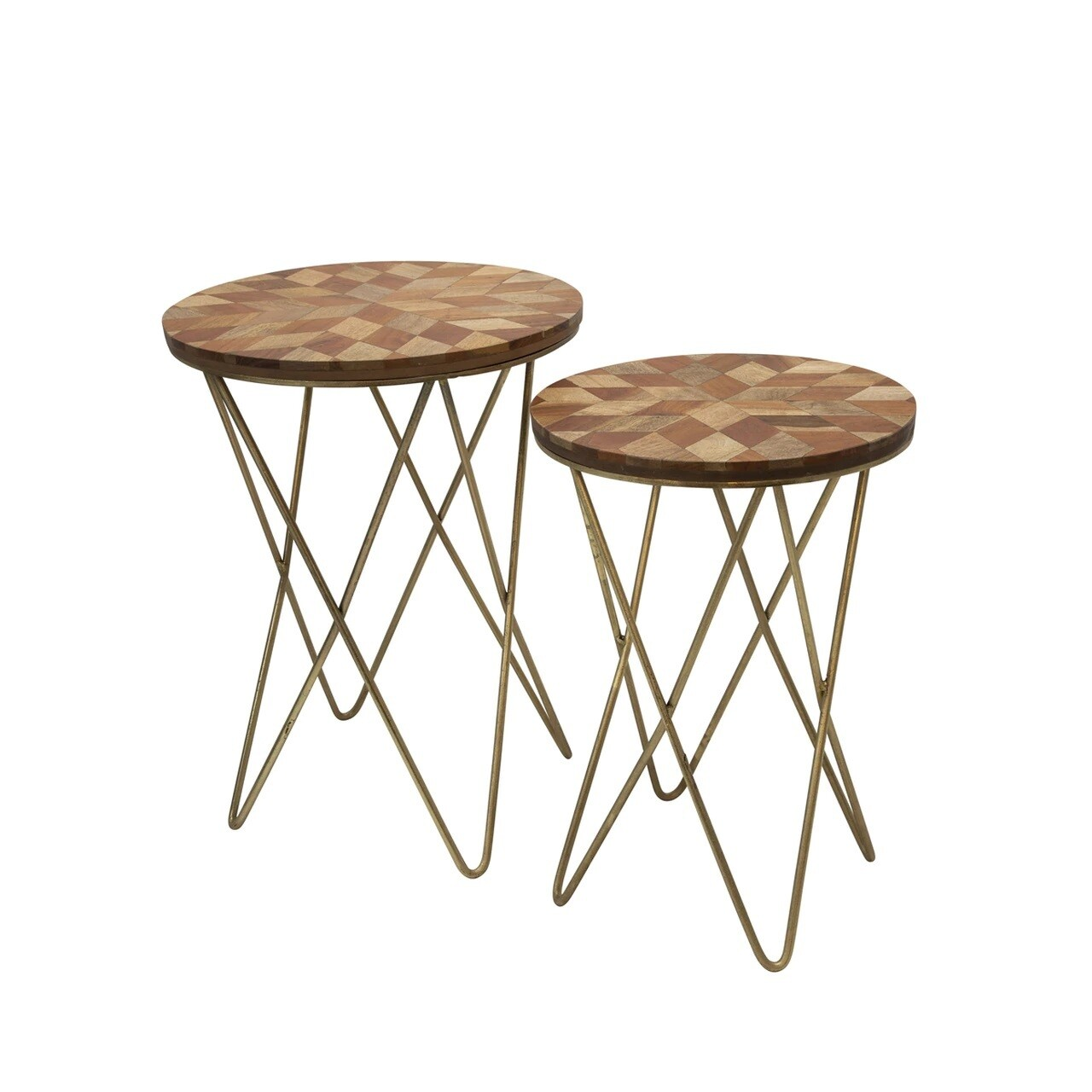 Wood Accent Tables w/ Hairpin Legs - Set of 2