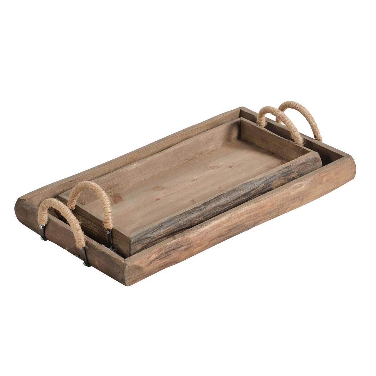 Wood Rectangular Trays - Set of 2