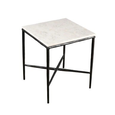 White Marble Top Square Side Table 18
