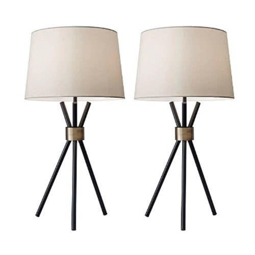 "Black Metal Tripod Base Table Lamps 22"" - Set of 2"