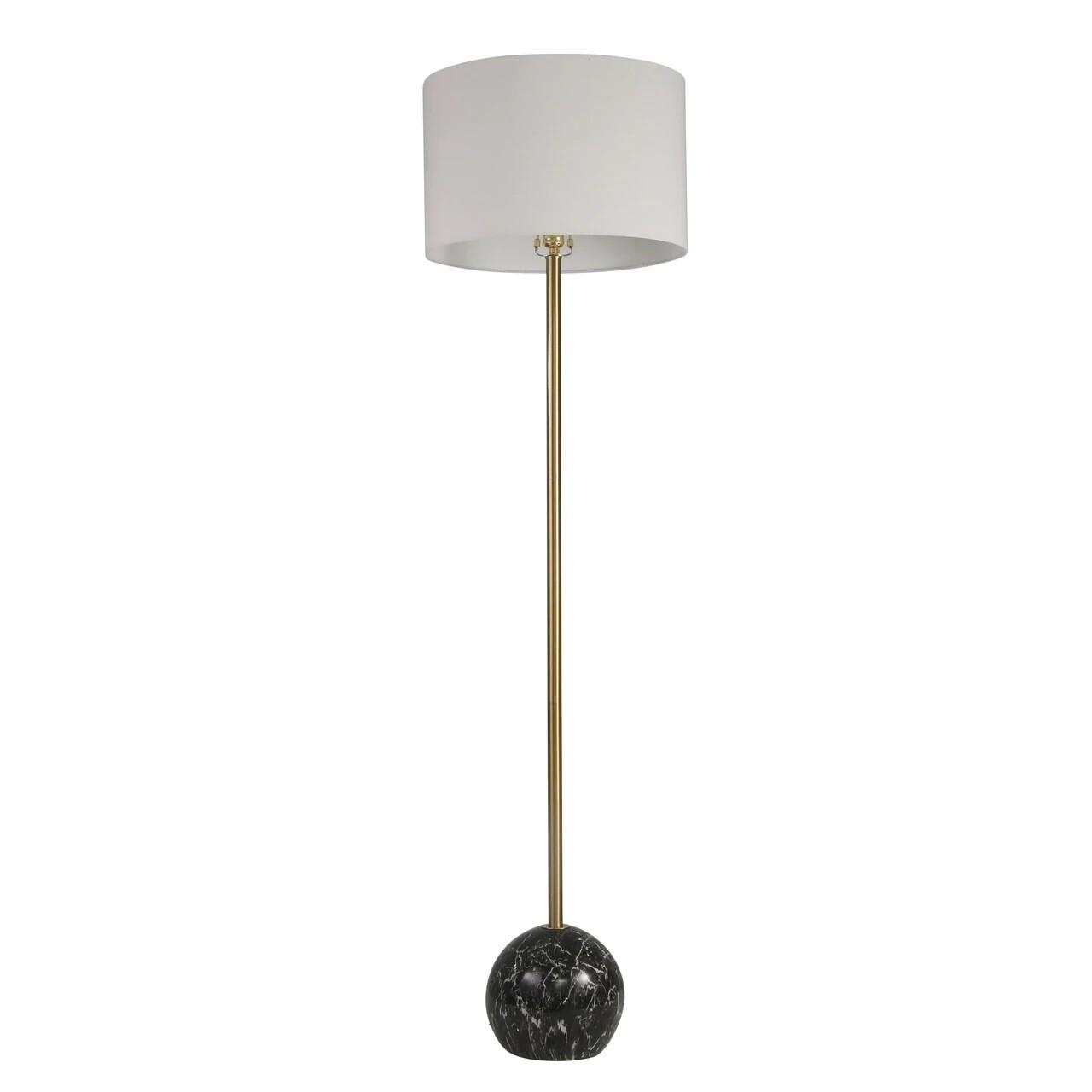 """Gold & Black Ball Floor Lamp 64"""""""