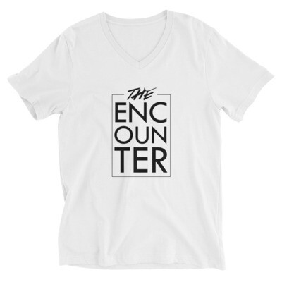 The Encounter Unisex V-Neck T-Shirt (white)