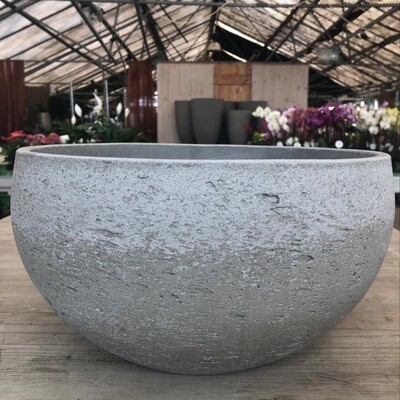 Schale Light Cement bauchig hellgrau