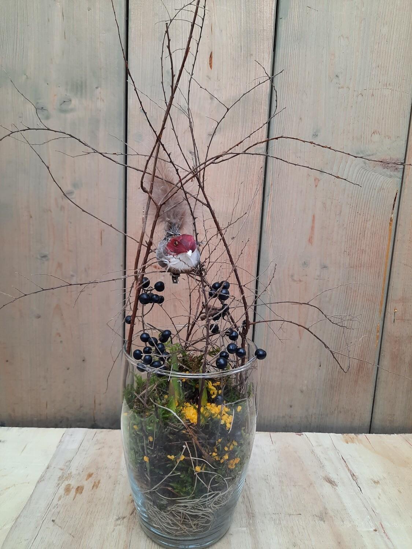 Frühlingsblüher im bauchigem Glas