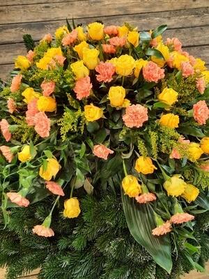 Trauerkranz Rosen und Nelken zweifärbig