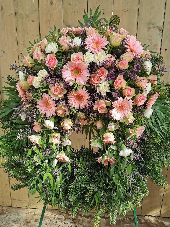 Trauerkranz Gerbera und Rosen mehrfärbig