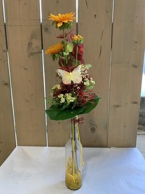 Seidenstrauß mit Sonnenblume inkl. Glasvase