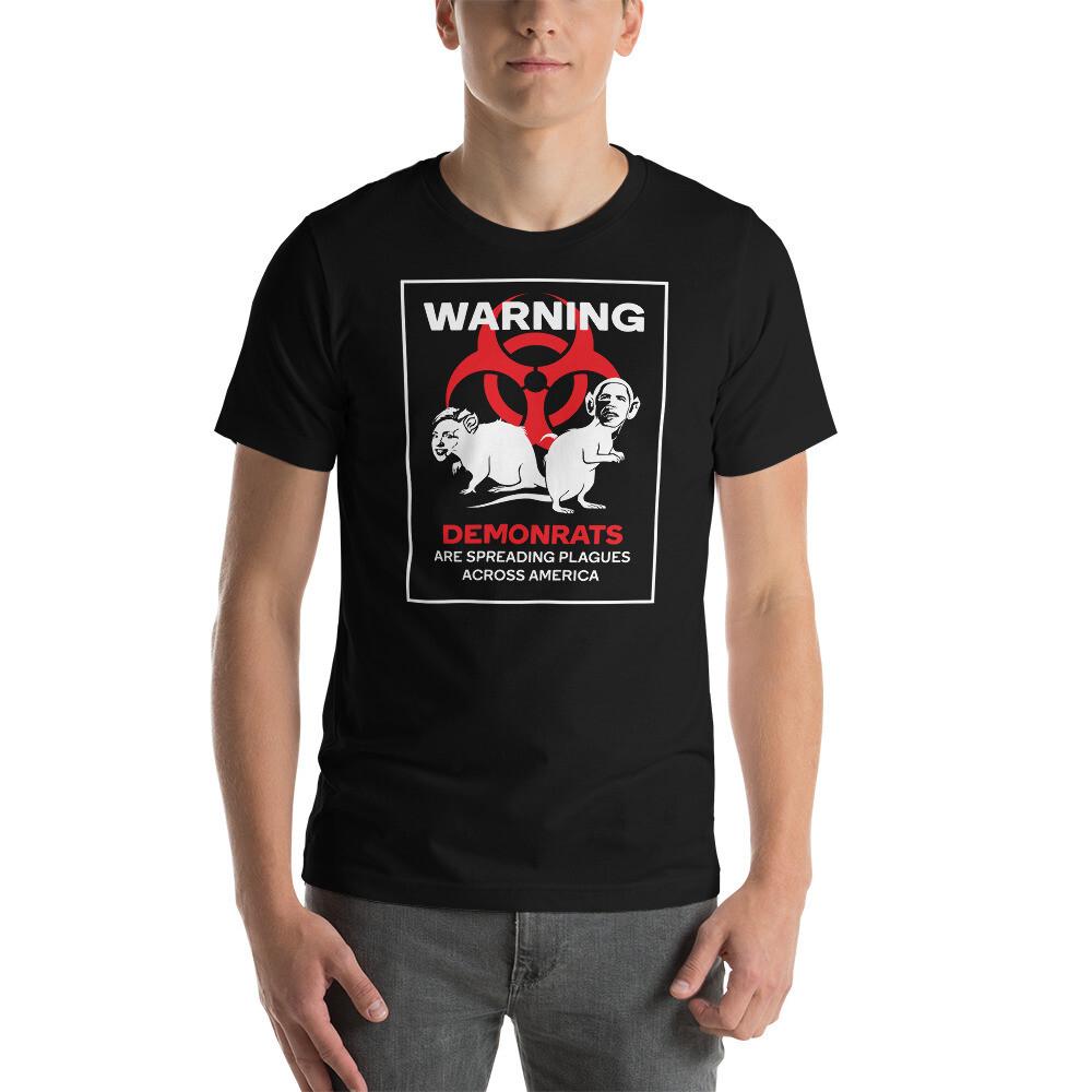 """Bordered DemonRats Spreading Plagues...(Hillary/Obama Cameo)"" Bordered Unisex T-Shirt"