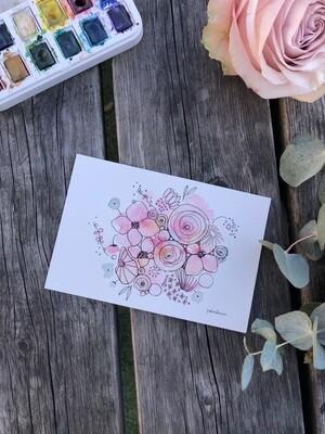 Postcard original/ A memorable flower bouquet