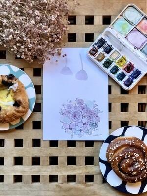 Design cards  5 pieces/ Happy wedding Italian linen paper