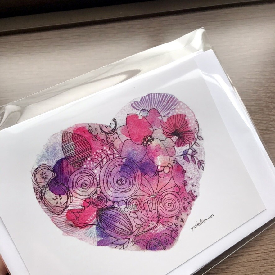 Design cards 4 pieces/ Heaps of Love in flowers