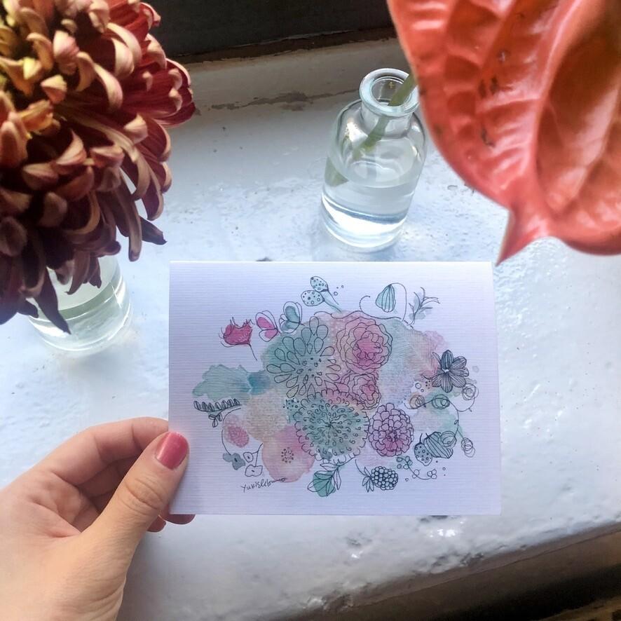 Design cards 4 pieces/ A winter scented bouquet