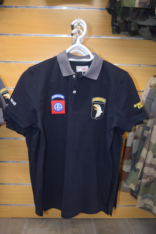 Polo Bleu Marine col Gris Airborne Division USA
