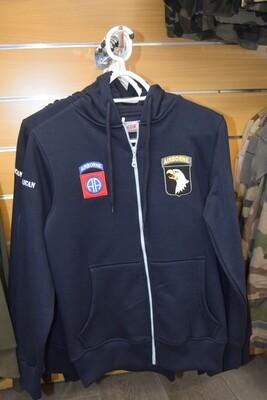 """Sweat à capuche zippé Bleu Marine USA """"les 2 Airborne"""""""