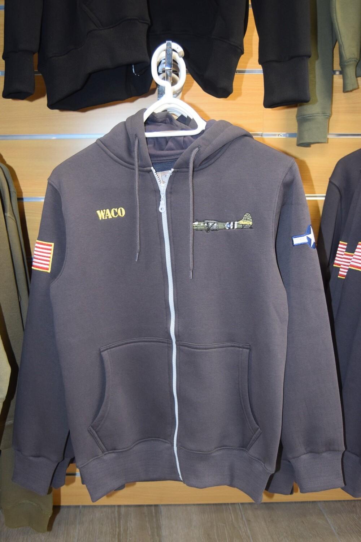 Sweat à capuche zippé Gris Planeur WACO WW2