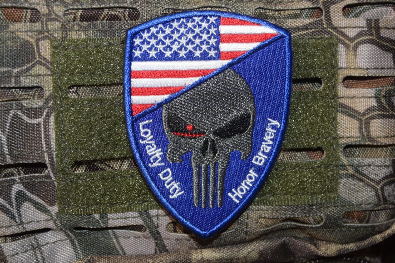 Patch Airsoft Punisher USA avec scratch au dos