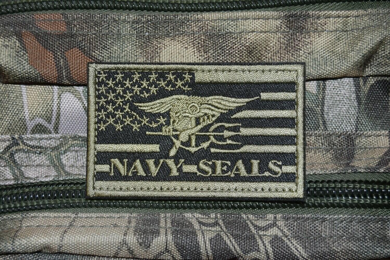 Patch Drapeau USA NAVY SEALS avec scratch au dos