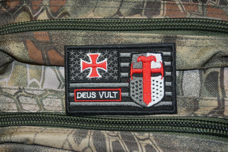Patch drapeau Américain DEUS VULT