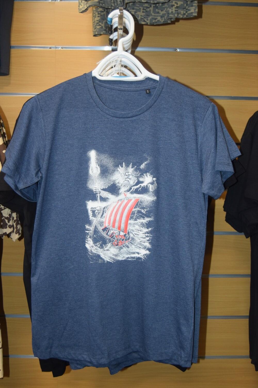 Tee Shirt Bleu Drakkar Viking