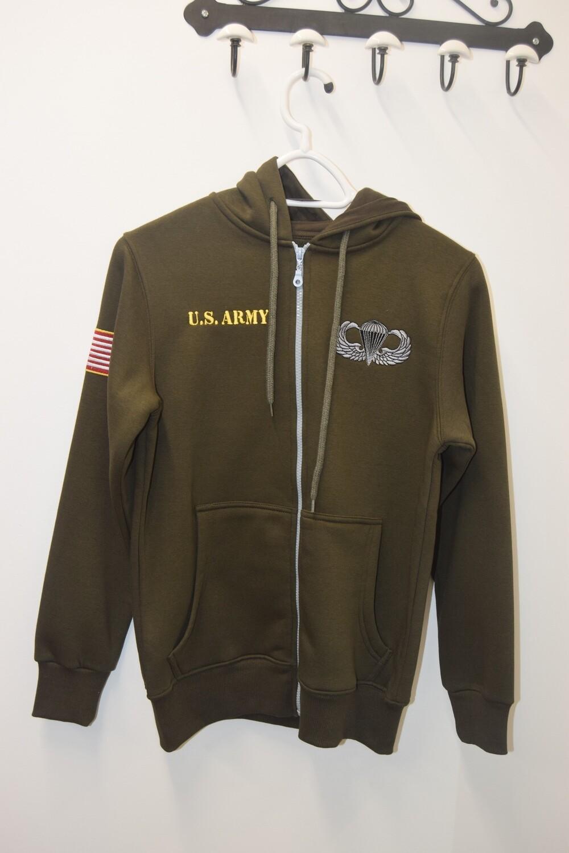 Sweat à capuche zippé Kaki US ARMY Paratroopeur Airborne