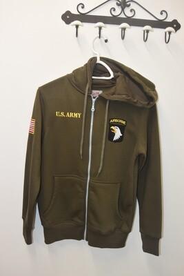 Sweat à capuche zippé Kaki 101e Airborne