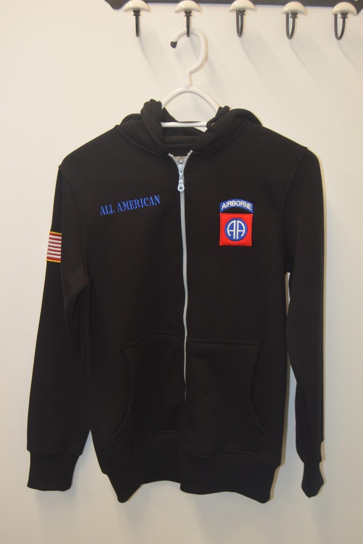 Sweat à capuche zippé Noir 82e Airborne Division