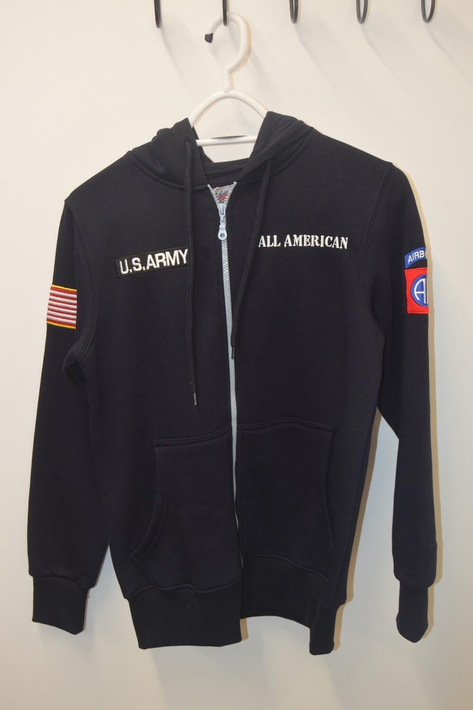 Sweat à capuche zippé Bleu Marine 82e Airborne