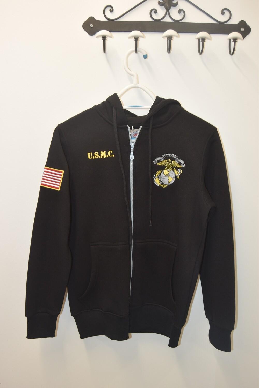 Sweat à capuche zippé Noir USMC UNITED STATES MARINE CORPS