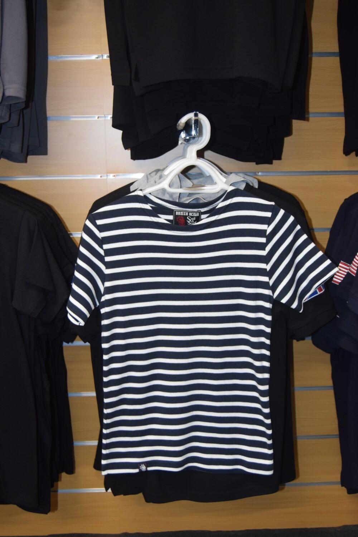 "Tee-Shirt marinière ""GARLAN MARINE BLANC"" coton épais"