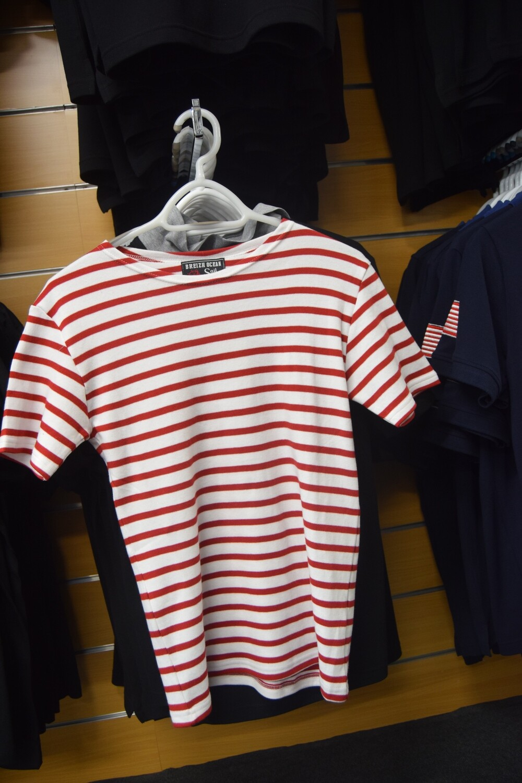 "Tee-Shirt marinière ""GARLAN BLANC ROUGE"" coton épais"