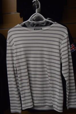 """Tee-Shirt marinière manches longues """"GUER BLANC GRIS"""" coton épais"""