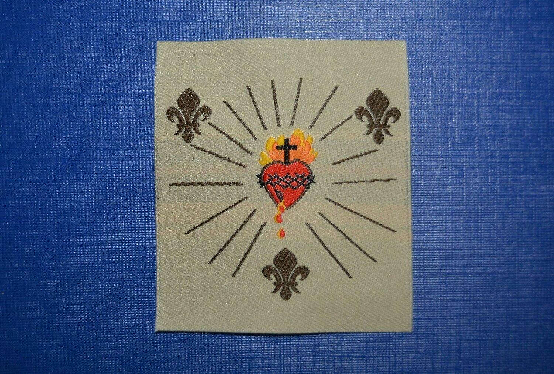 Insigne Sacré Cœur de Jésus 3 Fleurs de Lys