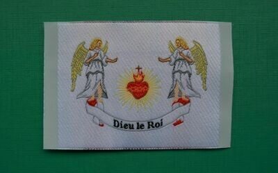 Insigne Sacré Cœur de Jésus avec les Anges Dieu le Roi