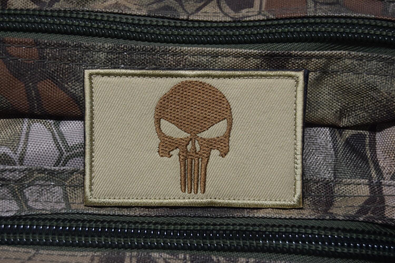 Patch US Punisher crâne TAN avec scratch au dos