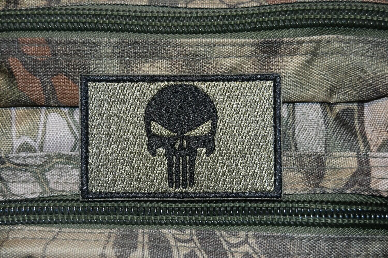 Patch tête de Punisher crâne noir avec scratch au dos