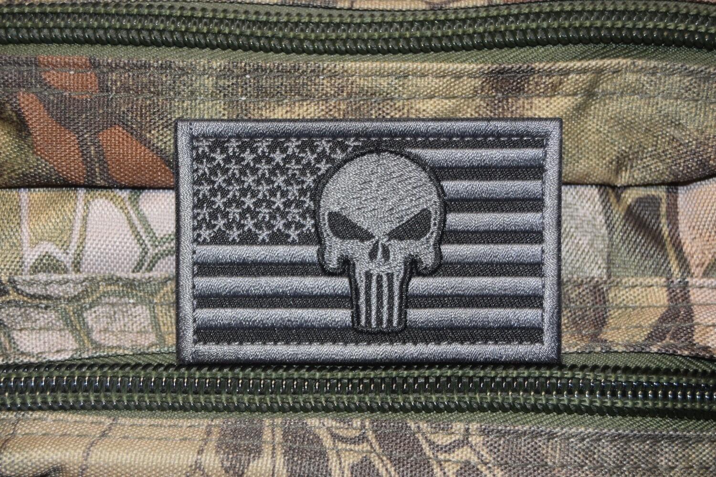 Patch drapeau USA tête de Punisher avec scratch au dos
