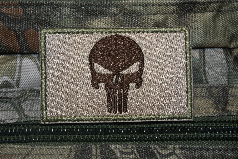 Patch US tête de Punisher crâne marron avec scratch au dos