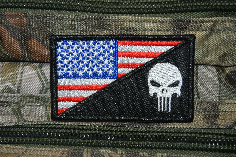 Patch drapeau USA crâne Punisher avec scratch au dos
