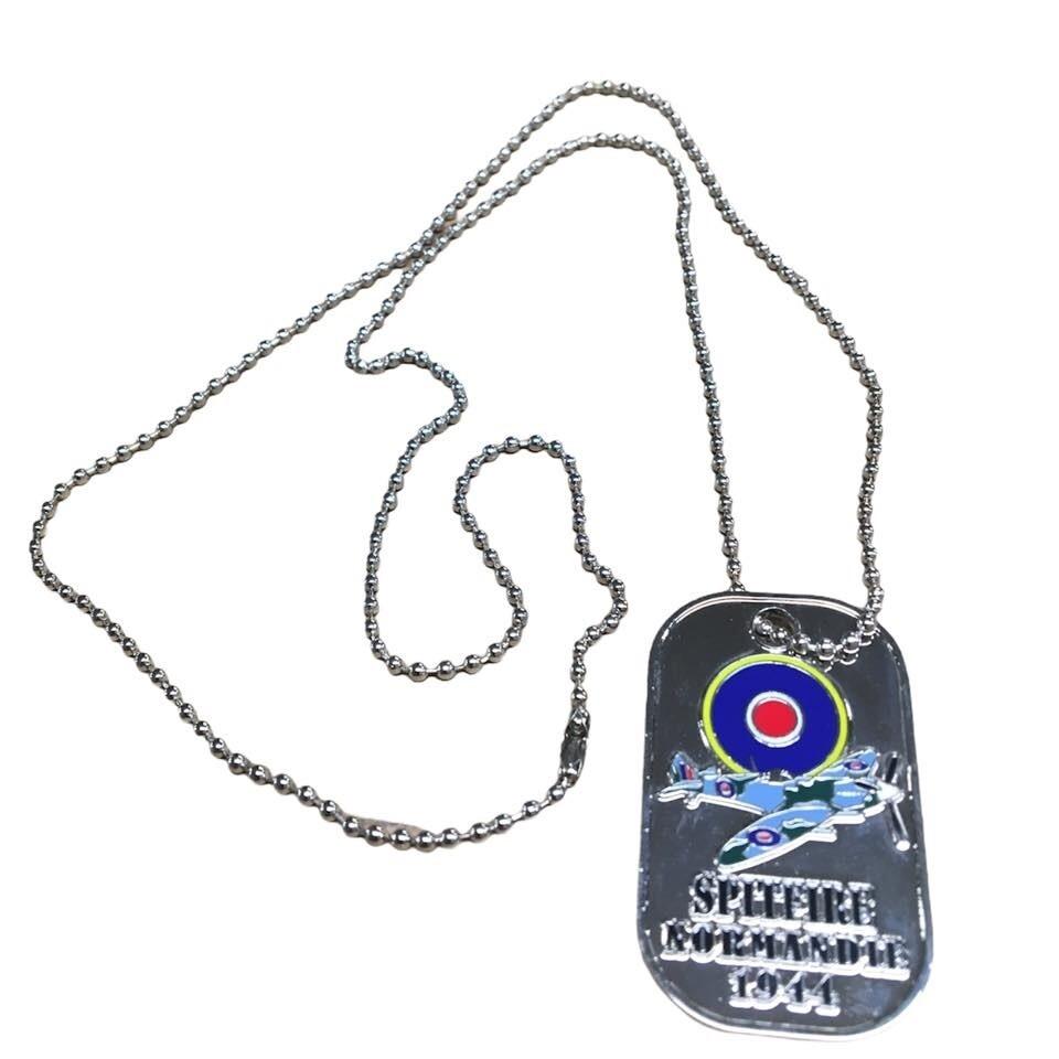 Plaques Militaires Dog Tag Spitfire Normandie 1944