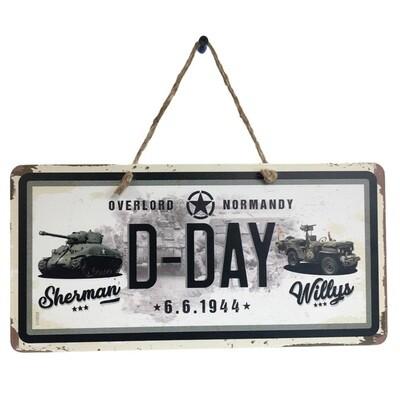 Plaque métal décoration Char Sherman Jeep Willys D-DAY 6 Juin 1944