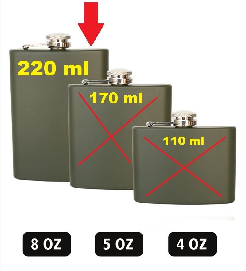 """Flasque militaire couleur kaki 220ml """"8OZ"""""""