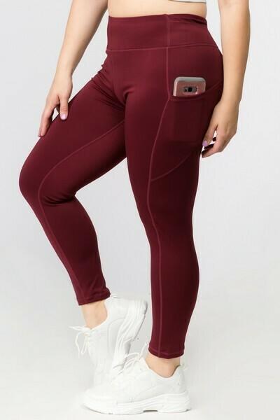 High Waist Tech Pocket Workout Leggings-PLUS