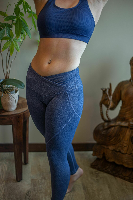 V-Waistband Heather Knit Workout Leggings