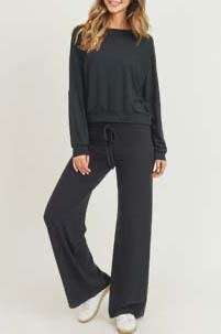 Drawstring Wide-Leg Lounge Pants & Top Set