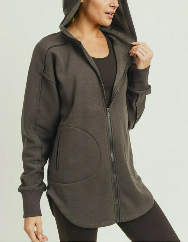 Longline Zip-Up Hoodie Jacket