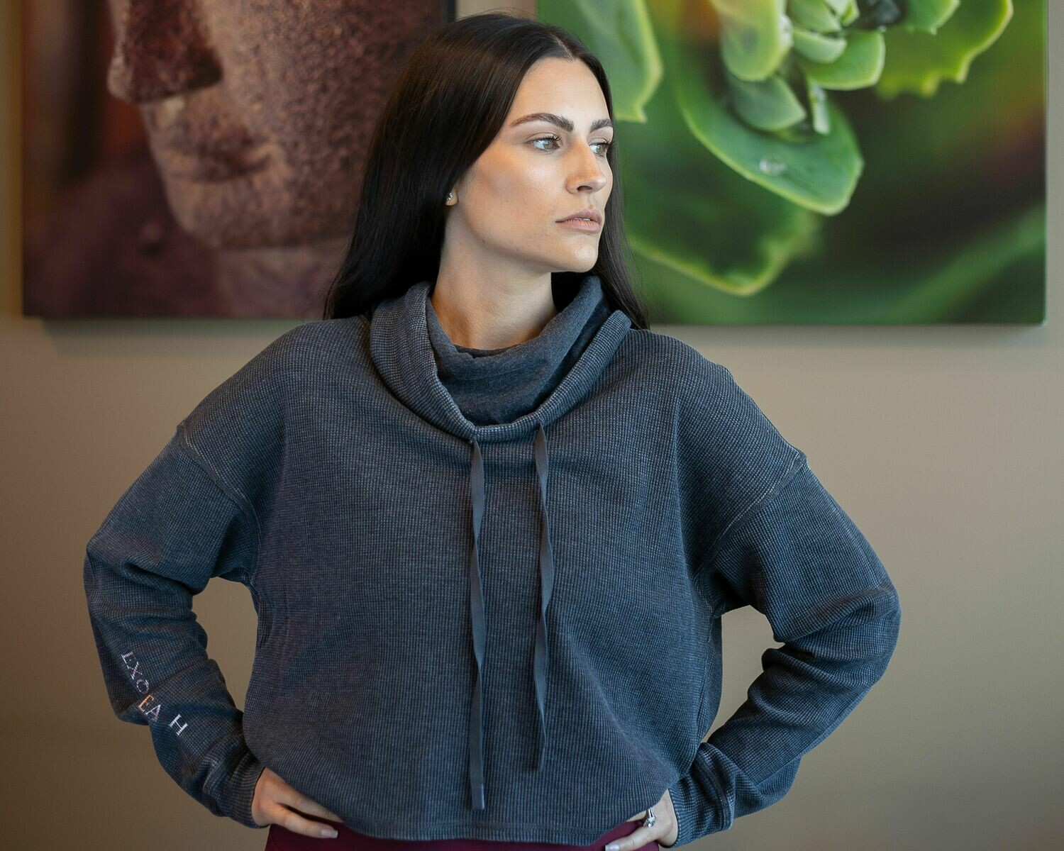 Boxy Mineral-Washed Cowl-Neck Pullover with Waffle
